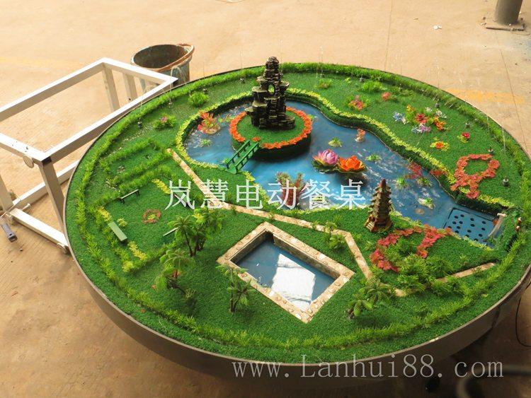 电动餐桌专用音乐喷泉水盆造型装饰图花草