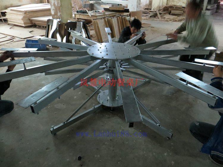 大型不锈钢电动圆餐桌落地式转盘