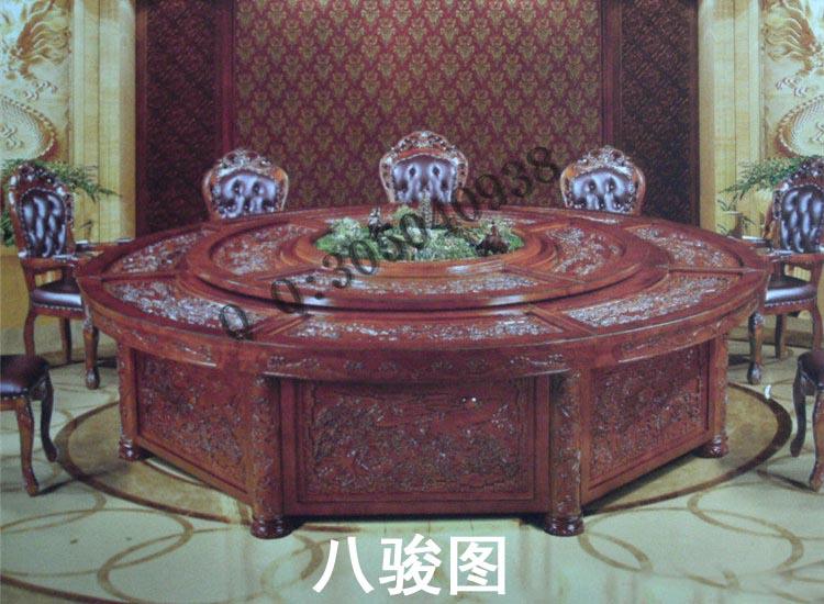 实木电动旋转桌定做家具厂|古代风韵精雕八骏图
