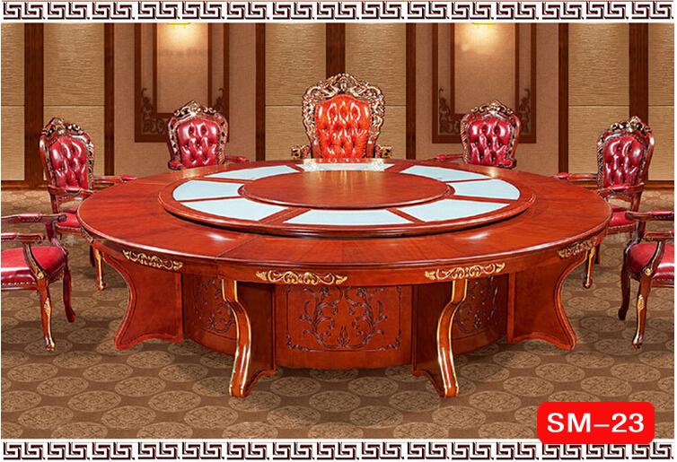 酒店电动圆桌旋转大餐桌|实木