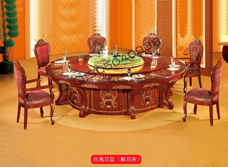 餐桌转盘旋转桌子定制|玫瑰花篮雕花版电动餐桌