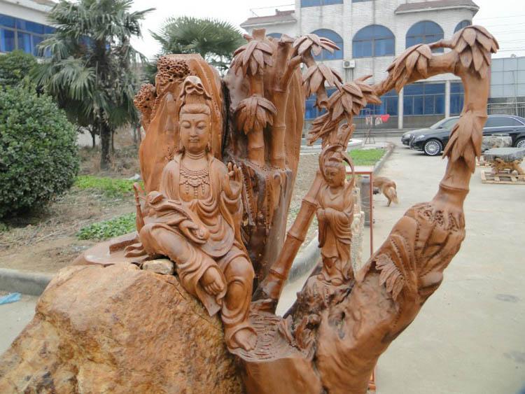 木雕佛像观音玉女