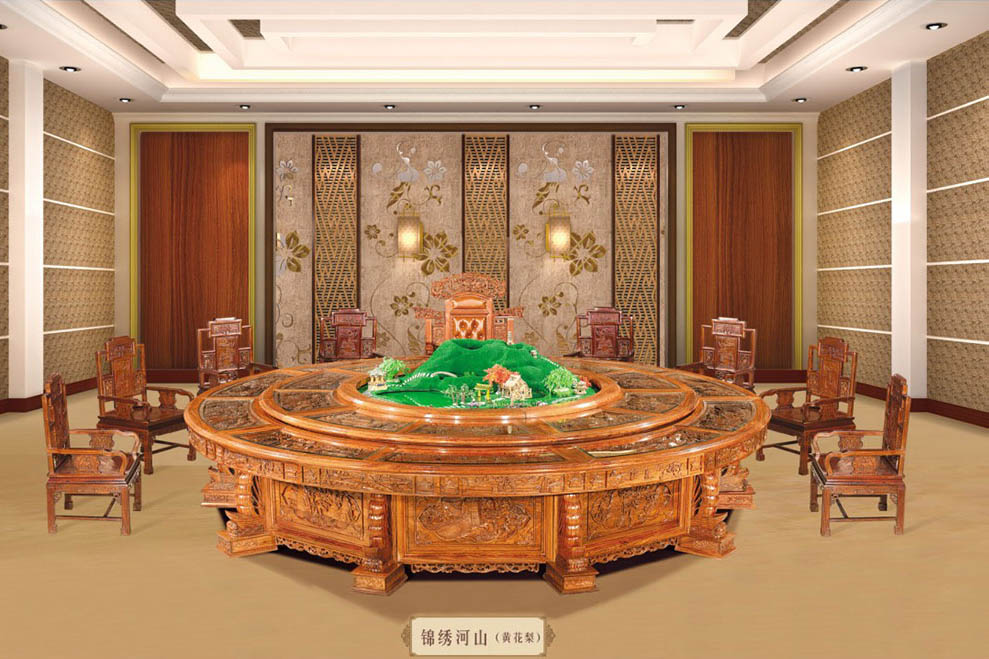 缅甸花梨木红木酒店自动餐桌