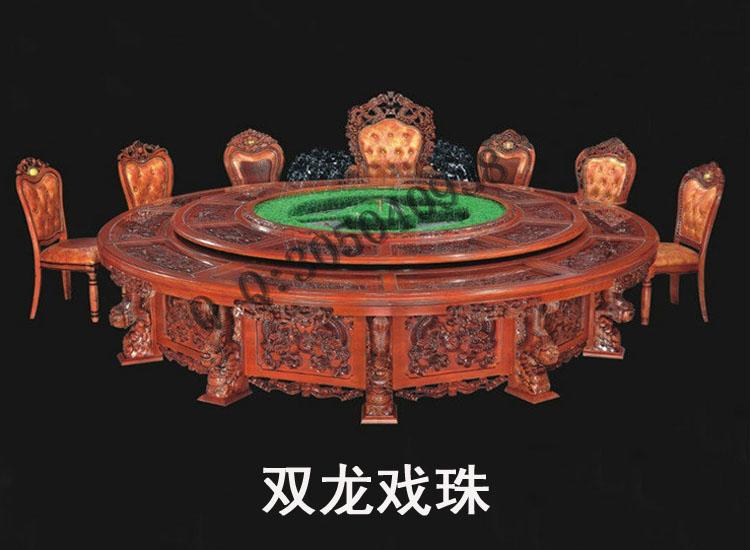 购买豪华全实木深雕电动餐台双龙戏珠批发价格
