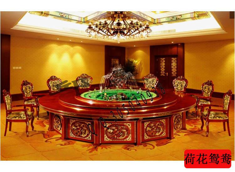 酒店餐桌摆台旋转桌子电动餐台|荷花鸳鸯电动餐