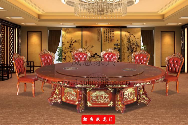 缅甸花梨木红木酒店自动餐桌效果图