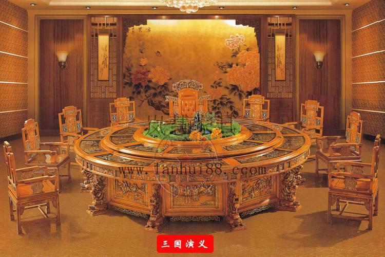 酒店会所专供豪华雕花大圆桌电动餐台椅工厂直