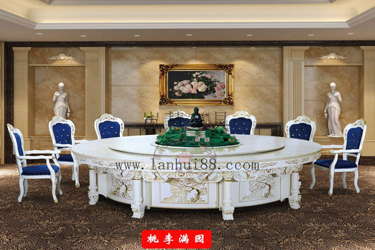 豪华电动餐桌转台欧式3.6米