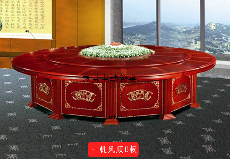 现代中式风格电动转盘圆形餐桌