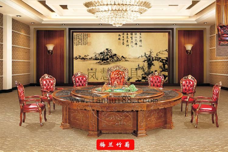 酒店豪华包厢专用大型电动餐桌雕花