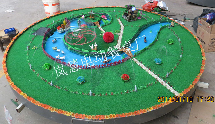 专用大型电动餐桌雕花喷泉图