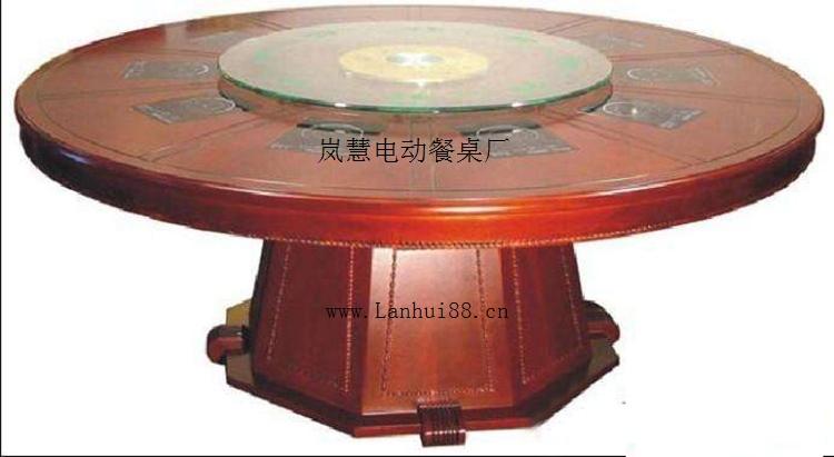 圆形电动火锅桌子自动玻璃转盘