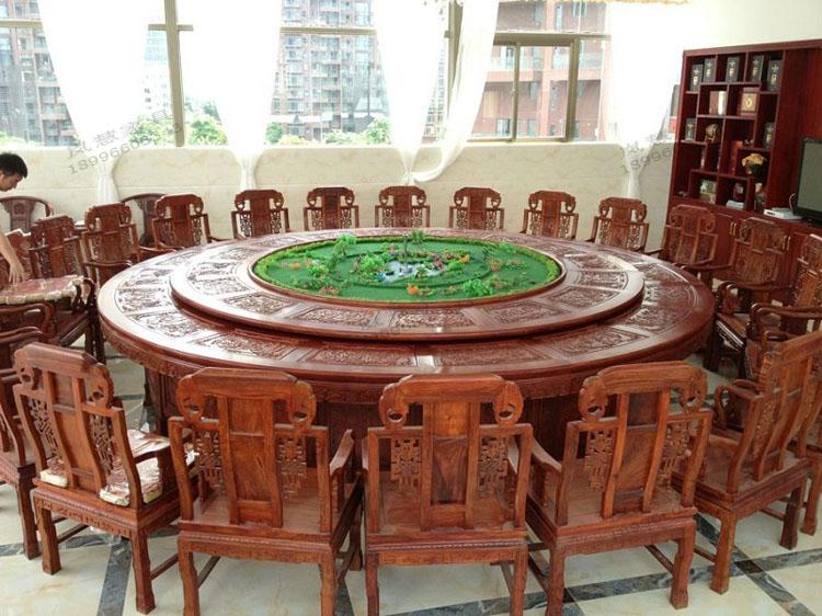 红木电动餐桌