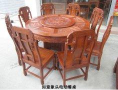 2015年老红木家具电动餐桌