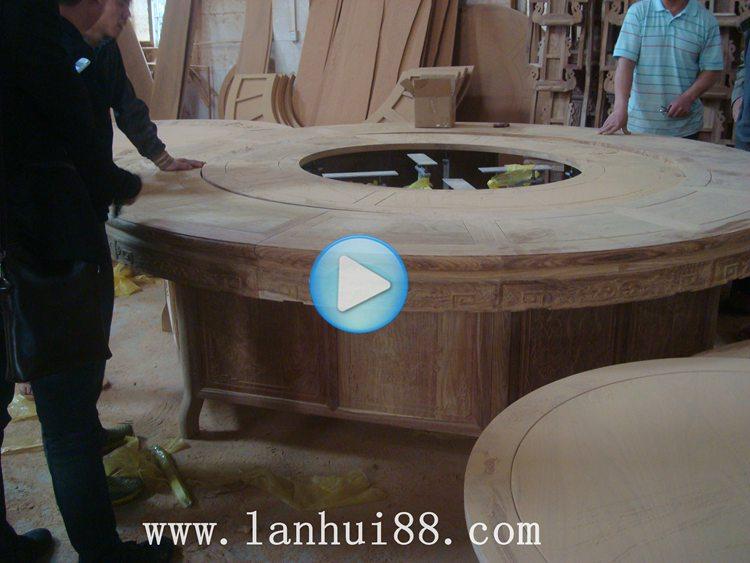 电动餐桌厂家红木餐台视频