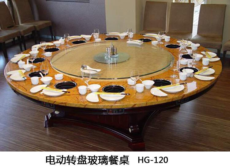 旋转式玻璃转盘火锅餐桌批发火锅桌图