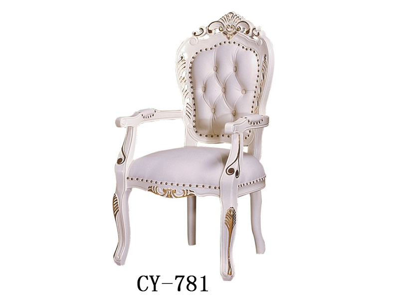 欧式酒店白色扶手餐椅