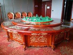 喷泉雕花电动餐桌演示