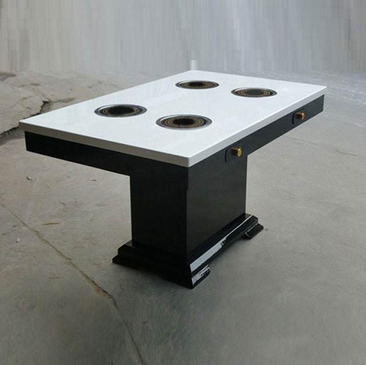 人造大理石电磁炉火锅桌4人桌图
